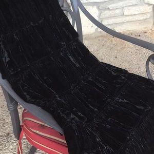 Long Ruffled Black Velvet Vintage Skirt